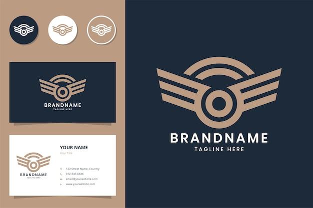 翼の線画のロゴデザイン