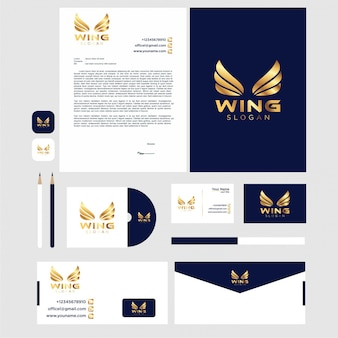 Wing logo design with stationery