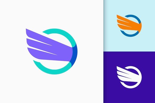 Логотип wing олицетворяет свободу и силу для самолета или технологической компании.