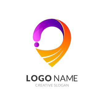 Wing pin point красочный дизайн логотипа