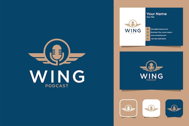 Wing podcast logo design and business card