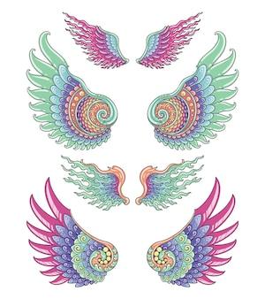 날개 세트 화려한 디자인
