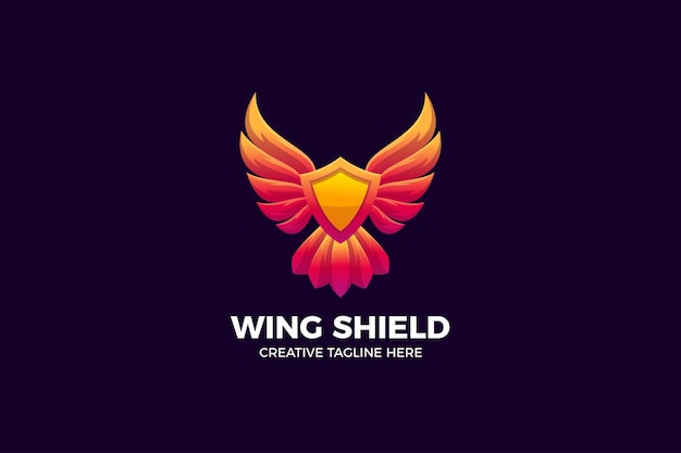 Wing shield gradient logo template