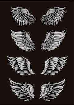 Набор шаблонов крыла для иллюстрации или логотипа
