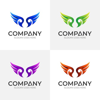 Шаблон дизайна логотипа wing