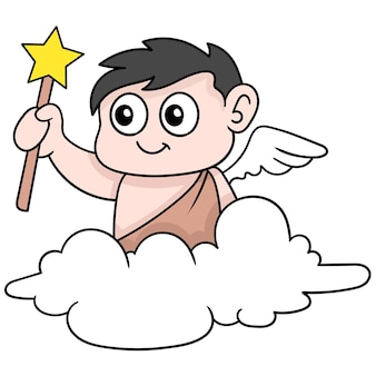 Winged baby angel boy carrying a magic wand flying in the clouds, vector illustration art. doodle icon image kawaii.