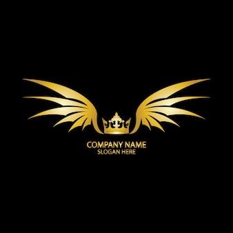Крылатая корона золотой логотип / векторные иллюстрации.