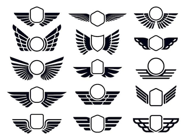 翼のあるフレーム。飛んでいる鳥の盾の紋章、ワシの翼のバッジフレームおよびレトロな航空高速翼。配送貨物のロゴタイプまたは軍用翼の記章。孤立したシンボルベクトルセット