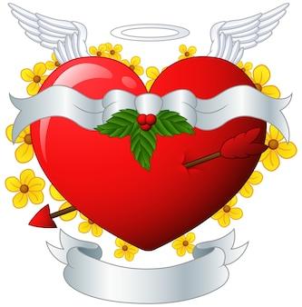 Крылатый сердечный баннер со стрелой и цветком