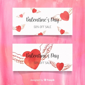 Winged hearts valentine sale banner