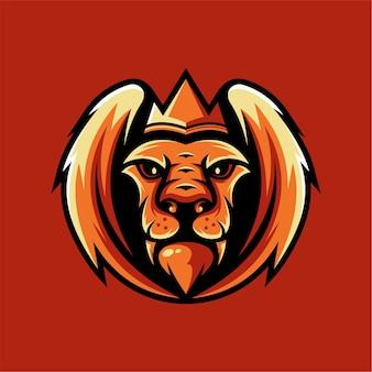 翼のあるライオンのマスコットのロゴ