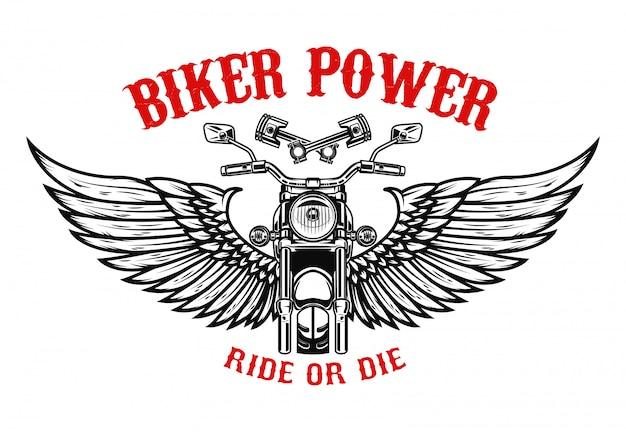 翼のあるオートバイ。ポスター、チラシの要素。図