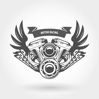 Крылатый двигатель мотоцикла иллюстрация - мотор велосипеда чоппер