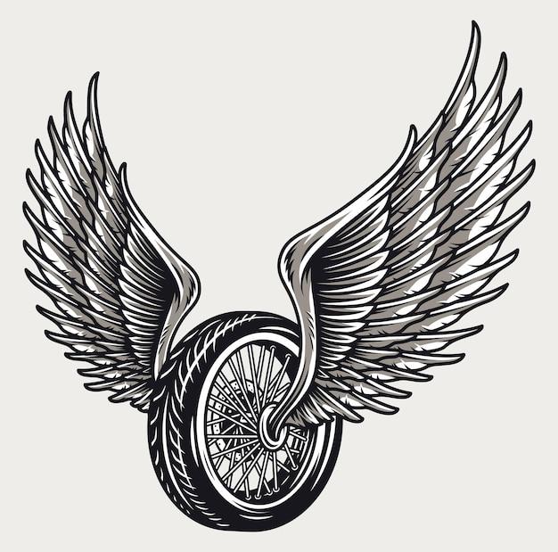 빈티지 스타일 절연 날개 달린 오토바이 바퀴