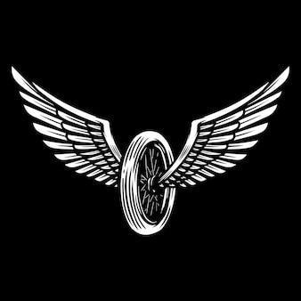 어두운 배경에 날개 달린 오토바이 바퀴입니다. 로고, 레이블, 기호, 포스터, 배너, 티셔츠 디자인 요소입니다. 벡터 일러스트 레이 션