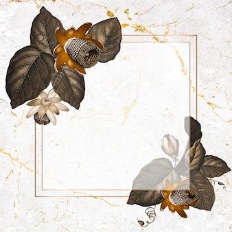 La cornice quadrata del fiore della passione alato