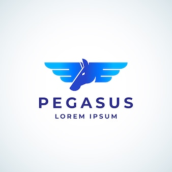 Крылатый пегас absrtract знак, символ или шаблон логотипа.