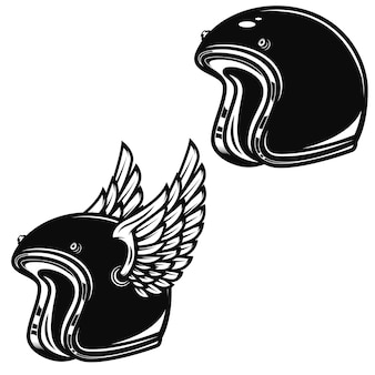 흰색 배경에 날개 달린 경주 헬멧입니다. 로고, 라벨, 엠 블 럼, 사인, 배지 요소. 삽화