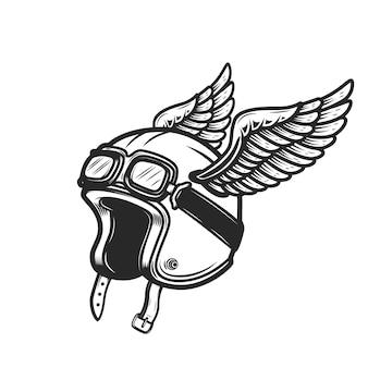 白い背景の上の翼のあるレーサーヘルメット。ロゴ、ラベル、エンブレム、記号の要素。画像