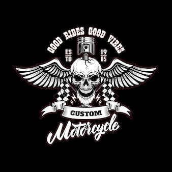 Winged racer skull with piston in head. design element for logo, label, sign, poster, t shirt.