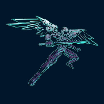 Winged robot with a sword illustration