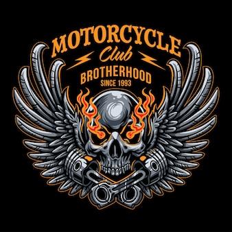 翼のある頭蓋骨とピストンのロゴのオートバイ
