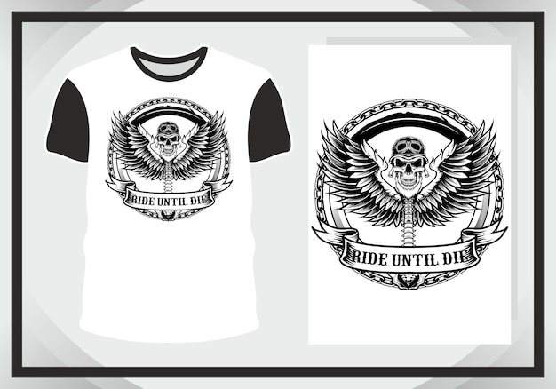Winged skull for illustration and t shirt