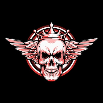 Winged skull logo vector