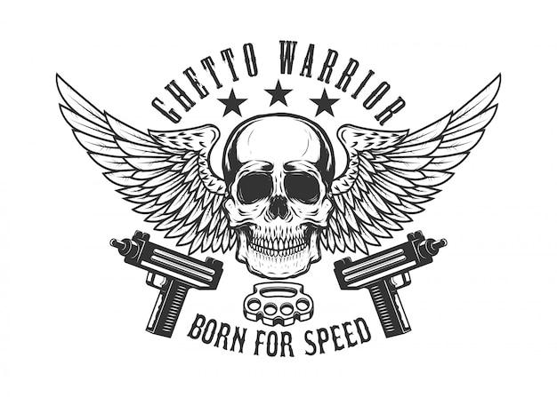 銃を持つ翼のある頭蓋骨。ロゴ、ラベル、エンブレム、記号の要素。画像