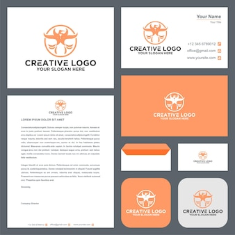 Wings abstract logo and business card