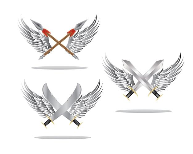 翼と武器のバッジ