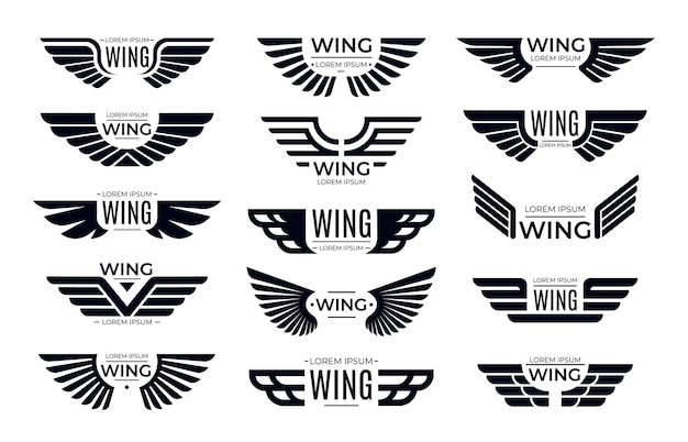 Wings badges. flying emblem, eagle bird wing and winged frame.