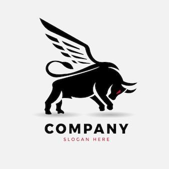 翼の雄牛のロゴデザインベクトル