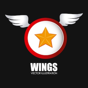 Wings design over black background vector illustration