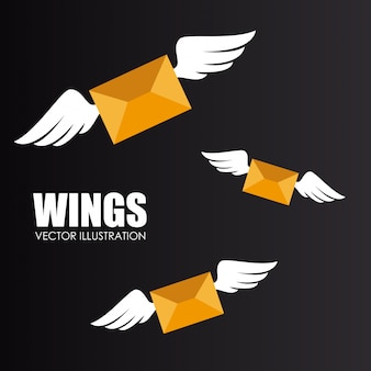 Wings design over gray background vector illustration