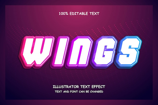 Wings, editable text effect modern futuristic pattern style