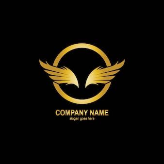 Крылья золотой логотип шаблон