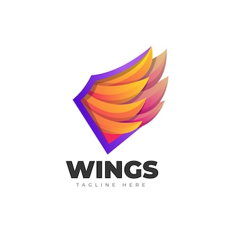 Крылья градиент логотип шаблон