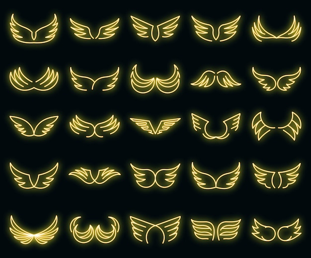 Wings icons set. outline set of wings vector icons neon color on black