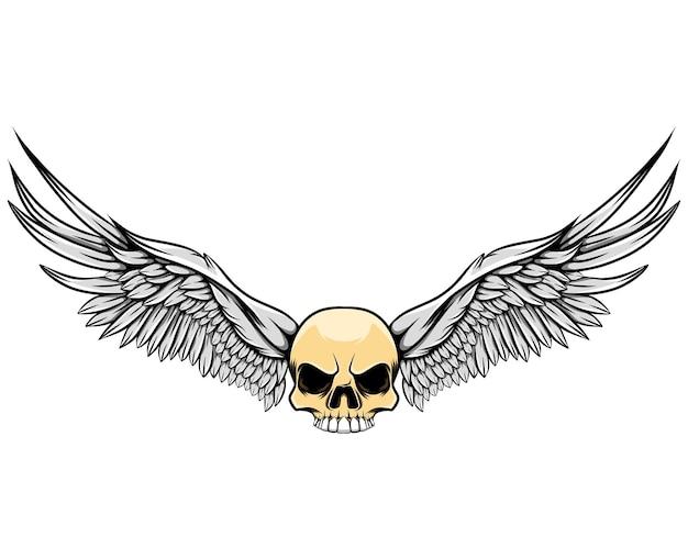 Крылья в глянцевом человеческом черепе
