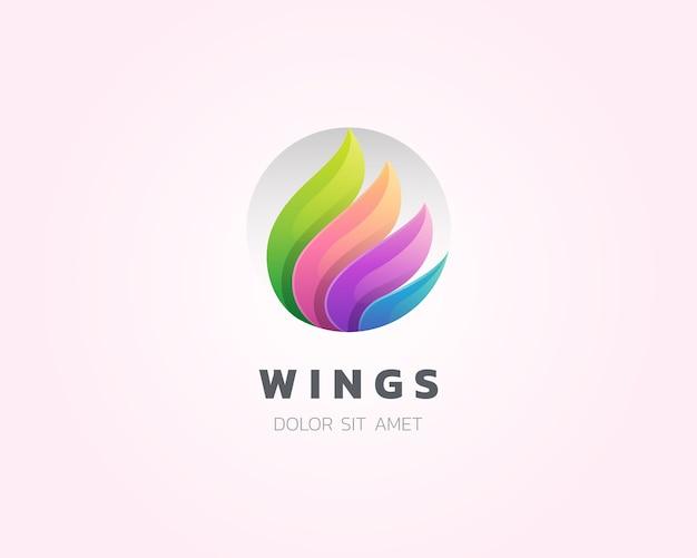 翼のロゴ。円のロゴのアイコンとカラフルな翼