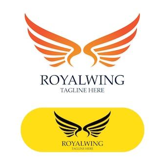 Wings logo design falcon bird vector image