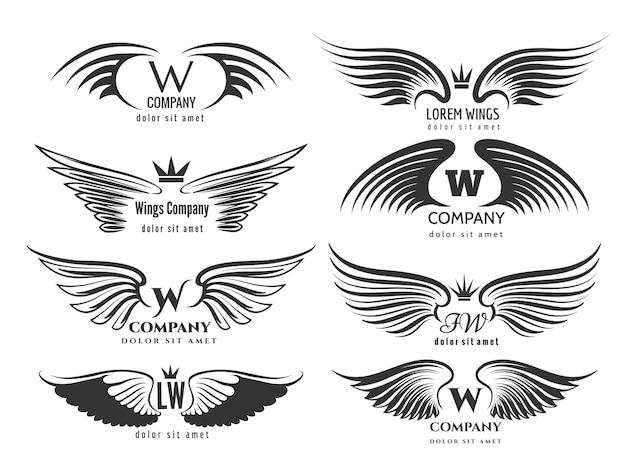 翼のロゴタイプセット。鳥の羽または白い背景で隔離の翼のロゴデザイン。ビジネスのロゴのイラストの翼の鳥や天使のペア