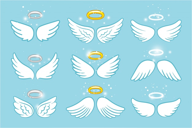 Wings and nimbus. angel winged glory halo cute cartoon drawings