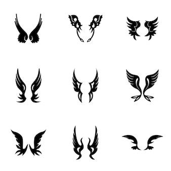 翼ベクトルセット。シンプルな翼の形のイラスト、編集可能な要素、ロゴデザインに使用できます