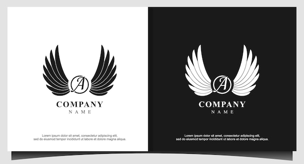 Wings with letter a logo design vector