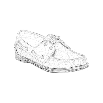 Wingtips shoe illustration in hand drawn vector