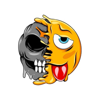 윙크하고 절뚝 거리는 얼굴 표정이 정상적인 웃음 죽음의 해골 이모티콘으로 바뀝니다.