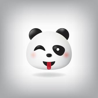 舌の顔パンダ絵文字でウィンク