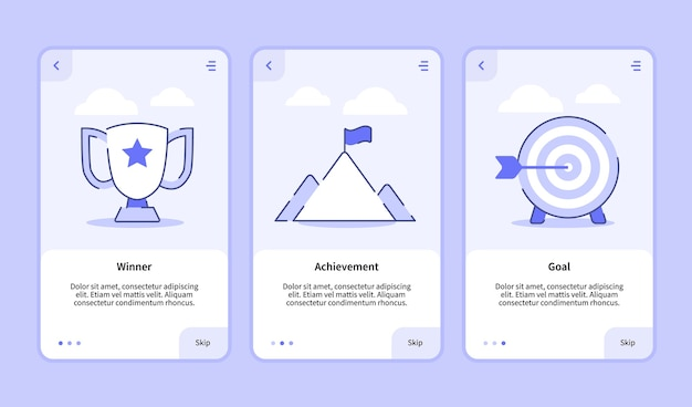 Winner achievement goal onboarding screen